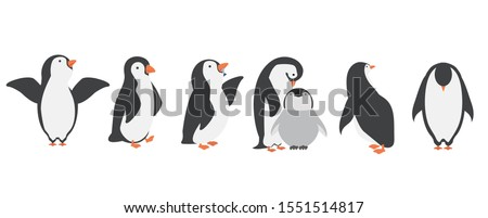 Happy penguin characters in different poses set Stock photo ©