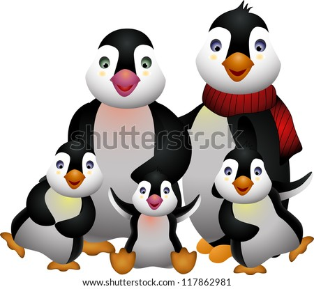 happy penguin family