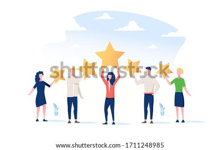 Happy people are holding review stars over their heads. Five stars rating. Customer review rating and client feedback concept. Modern vector illustration. Customer review rating. People give review