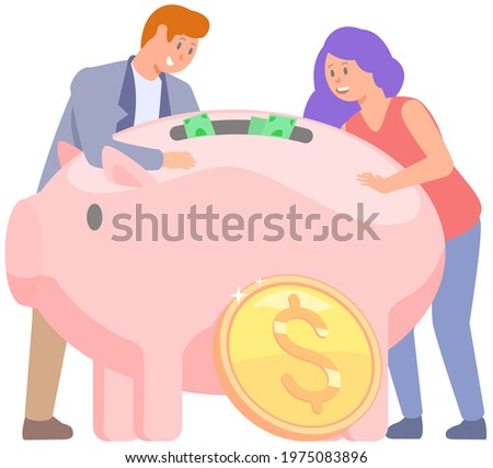 Happy people around piggy bank. Pink storage device for coins and dollar bills. Money accumulation concent. Pig shaped money storage container. Rich characters amass wealth vector illustration Photo stock ©
