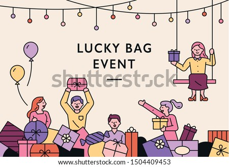 Happy people carrying gift boxes in a pile full of gift boxes. Promotion Banner Concept. flat design style minimal vector illustration