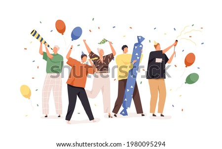 Happy people celebrating birthday with confetti, balloons, party hats and horns. Holiday celebration concept. Men and women rejoicing together. Colored flat vector illustration isolated on white