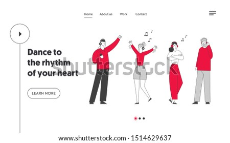 Happy People Clubbing and Dancing Disco at Night Club Party Website Landing Page. Characters in Headset Listen Music and Dance at Nightclub Web Page Banner. Cartoon Flat Vector Illustration, Line Art