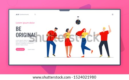 Happy People Clubbing Dancing Disco at Night Club Music Party Website Landing Page. Characters Dance at Nightclub, Nightlife Event under Stroboscope Web Page Banner. Cartoon Flat Vector Illustration