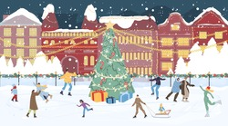 Happy people crowd on ice rink. Decorated Chrismtas main square with gift box under fir tree, house building on background. Excited family children outside. Winter holiday celebration. New year coming