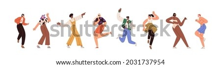 Happy people dance to music while listening to it with headphones and earphones. Set of diverse modern man and woman dancing from joy and fun. Flat vector illustration isolated on white background