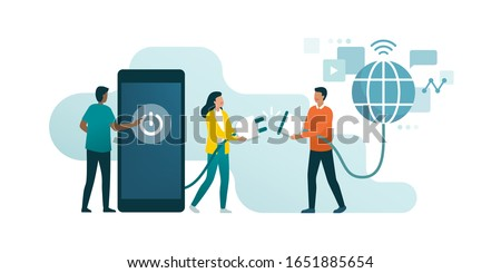 Happy people disconnecting and doing a digital detox, they are unplugging the phone and being offline Photo stock ©