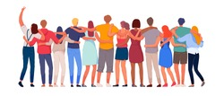 Happy people. Diverse multi-ethnic people character group hugging standing together back view. National cohesion, solidarity and unity illustration. International friendship communication vector