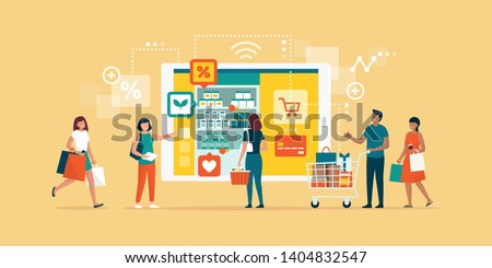 Happy people doing grocery shopping online and shopping smartphone app: technology, retail and communication concept