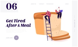 Happy People Eating Bakery Website Landing Page. Tiny Man Sitting on Huge Loaf of Fresh Bread Working on Laptop. Carb Products and Baked Production Web Page Banner. Cartoon Flat Vector Illustration