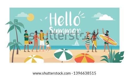 happy people enjoying summer