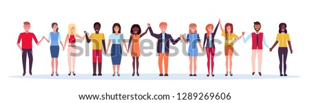 happy people group holding raised hands mix race men women standing together multiethnic friends celebration success male female cartoon characters full length flat horizontal