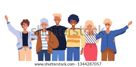 Happy people group portrait. Friends waving hands, embracing each other vector illustration isolated on white