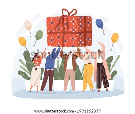 Happy people holding big wrapped birthday gift. Joyful men and women with huge giftbox. Anniversary celebration concept. Colored flat vector illustration of large present isolated on white background Stock photo ©