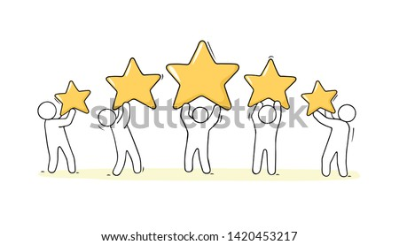 Happy people holding five golden stars. Doodle cute illustration about the product quality. Isolated vector Idea of feedback and review.