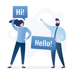 Happy people holds speech bubbles with text- Hello and Hi! Template for business or education web page. Greeting or friendship concept. Welcome banner. Trendy style vector illustration