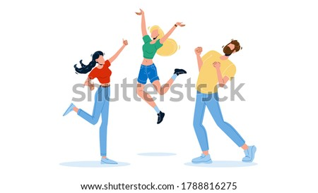 Happy People Jumping Enthusiasm Emotion Vector. Business Employee Young Man And Woman Jump in Air Cheerfully With Enthusiasm Expression. Characters Office Workers Or Friends Flat Cartoon Illustration Сток-фото ©