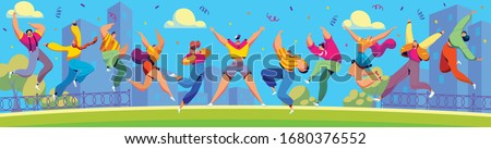 Happy people jumping in city, cartoon characters celebrating together, vector illustration. Men and women jumping and dancing, positive emotions. Excited cheerful people celebrating summer party Foto d'archivio ©