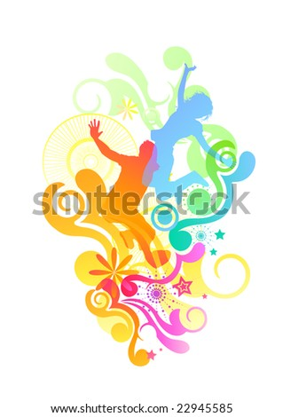 Happy people jumping with various design elements. Vector illustration