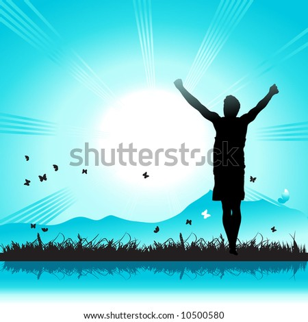 Happy people on nature, sunbeam, grass and butterfly
