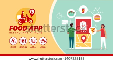 Happy people ordering take away food online on a smartphone: how to order food online Stockfoto ©