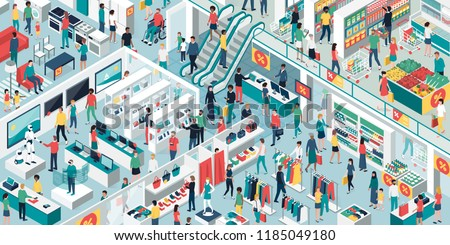 Happy people shopping together at the shopping mall and clearance sale: electronics, clothing, home furnishing and grocery store