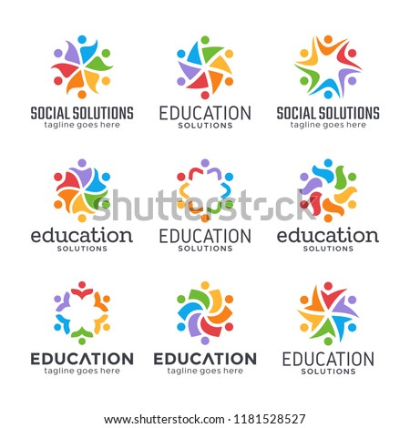 Happy people, team, group and family logo design. Social relationship, friendship, cooperation and unity symbols. Six abstract persons.