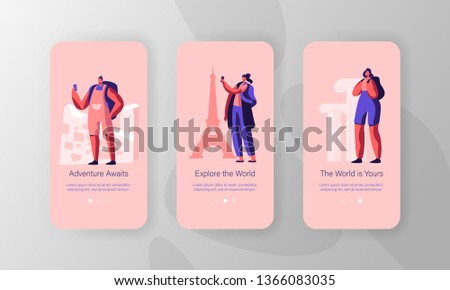 Happy People Traveling to Foreign Country Concept for Website or Web Page. Lower Price Travel Agency Offer, Mobile App Page Onboard Screen Set, Excursion for Travelers Cartoon Flat Vector Illustration