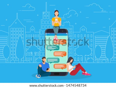 Couple chatting on social media vector - Download Free