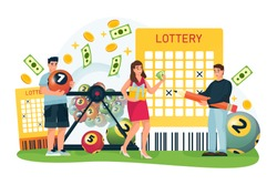 Happy people win money in bingo lottery. Vector flat cartoon illustration for casino or gambling games. Man and woman cross out numbers in lottery ticket and hold balls with numbers.