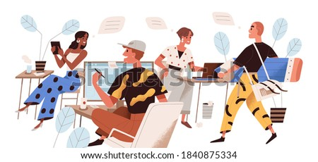 Happy people working at creative design agency office concept. Diverse men and women at studio workplace on white background. Collaboration of creators. Flat vector illustration on white background