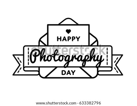 Happy Photography day emblem isolated vector illustration on white background. 12 july professional holiday event label, greeting card decoration graphic element