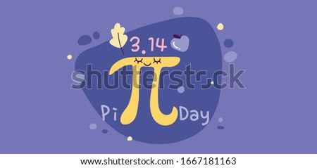 Happy Pi Day. Celebrate Pi Day. Constant number Pi and pie.Ratio of a circle's circumference to its diameter. Mathematical constant. March 14th (3/14).Celebrate Pi Day on purple background.