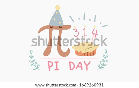 Happy Pi Day. Celebrate Pi Day. Constant number Pi and pie.Ratio of a circle's circumference to its diameter. Mathematical constant. March 14th (3/14).Celebrate Pi Day on white background.