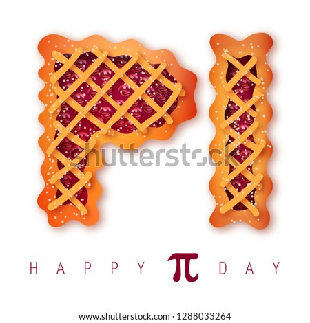 Happy Pi Day! Celebrate Pi Day. Mathematical constant. March 14th (3/14). Ratio of a circle's circumference to its diameter. Constant number Pi. Cherry pie