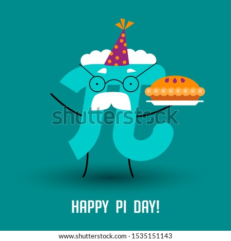 Happy Pi Day! Celebrate Pi Day. Mathematical constant. March 14th (3/14). Ratio of a circle's circumference to its diameter. Constant number Pi and pie