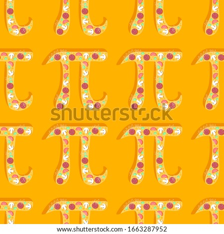 Happy Pi Day! Celebrate Pi Day. Mathematical constant. March 14th (3/14). Ratio of a circle's circumference to its diameter. Constant number Pi. Pizza. Seamless pattern