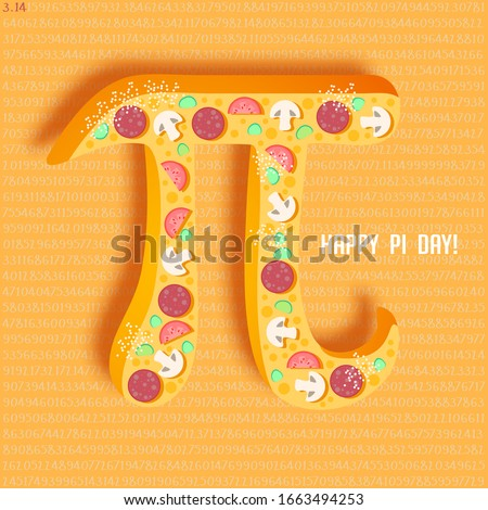 Happy Pi Day! Celebrate Pi Day. Mathematical constant. March 14th (3/14). Ratio of a circle's circumference to its diameter. Constant number Pi. Pizza