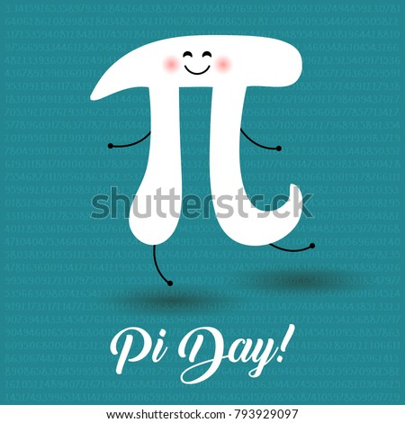 Happy Pi Day! Celebrate Pi Day. Mathematical constant. March 14th (3/14). Ratio of a circle's circumference to its diameter. Constant number Pi. Party poster. Dancing Pi letter
