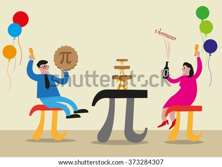 happy pi day concept people