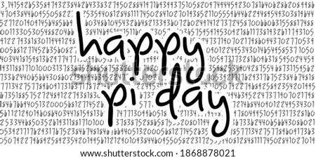 Happy PI day, 14 march, Pythagoras mathematical numbers series ( 3.14 3,14 ) symbol. Fun vector. Ratios letters formula structure.  Photo stock ©