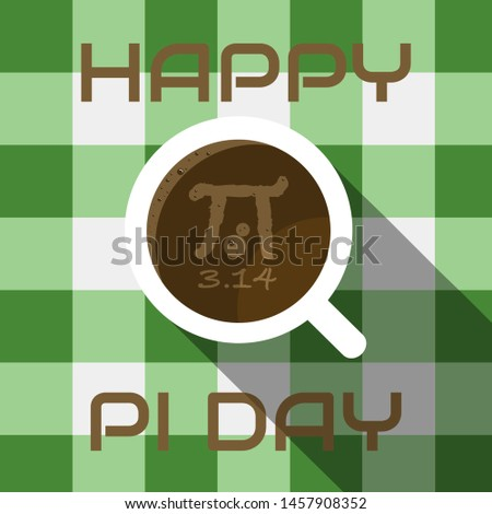 Happy Pi Day. Pi sign on coffee.