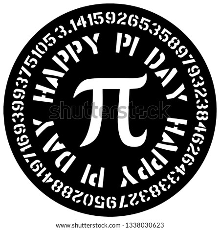 Happy Pi Day with Pi sign and value in numbers