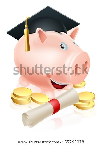 Happy piggy bank cartoon with graduation cap and diploma scroll with gold coins. Saving for a career or education.