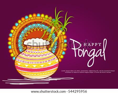 Happy Pongal Greeting Card.
