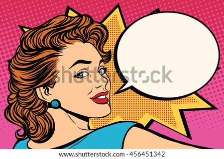 Happy pop art retro woman close-up face vector illustration
