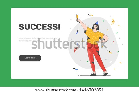 Happy positive young woman in casual clothes celebrating success. Happiness, success, celebrating, party people concept. Landing page template.