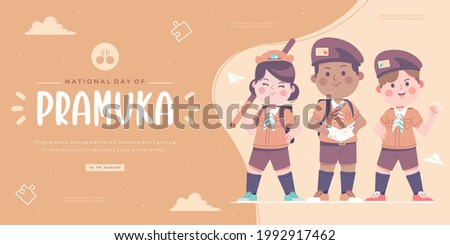 happy pramuka day or scout day banner background Stock photo ©