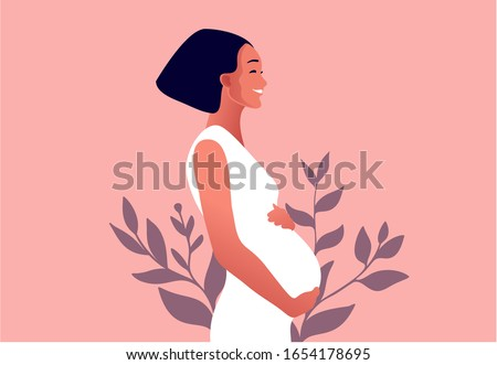 Happy pregnant woman holds her belly. Active well fitted pregnant female character. Happy pregnancy. Flat cartoon vector illustration