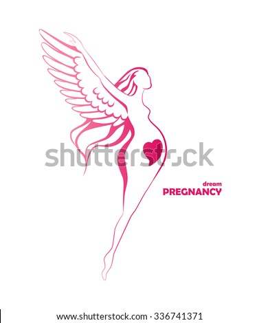 happy pregnant woman hovering